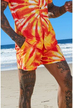 Mens Orange Tie Dye Swim Shorts