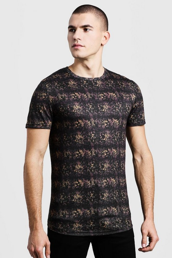 Muscle Fit Gold Printed T-Shirt