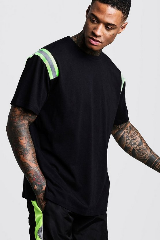 Black Loose Fit Velour T-Shirt With Neon Tape