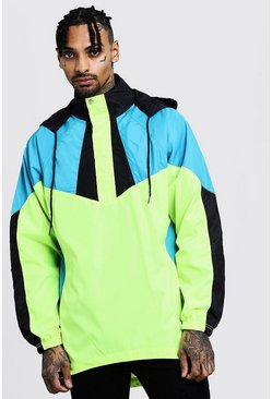 Mens Neon-yellow Colour Block Half Zip Cagoule