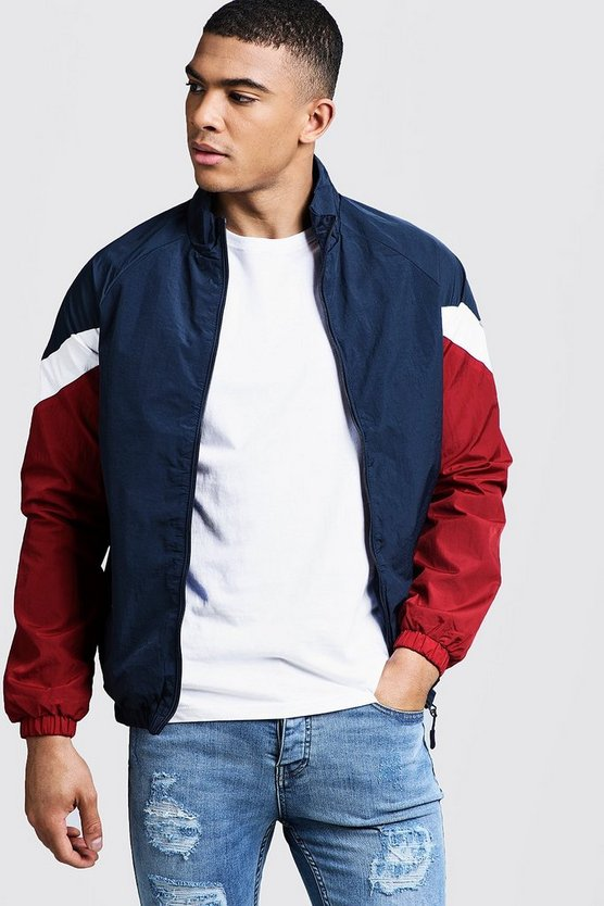 Mens Navy Raglan Colour Block Zip Through Bomber
