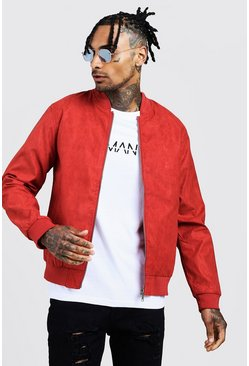 Mens Burnt orange Faux Suede Bomber Jacket