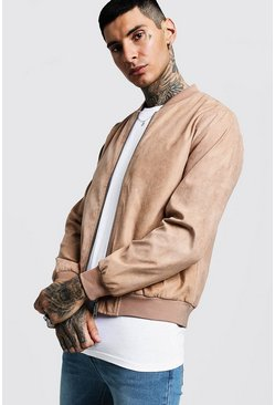 Mens Taupe Faux Suede Bomber Jacket