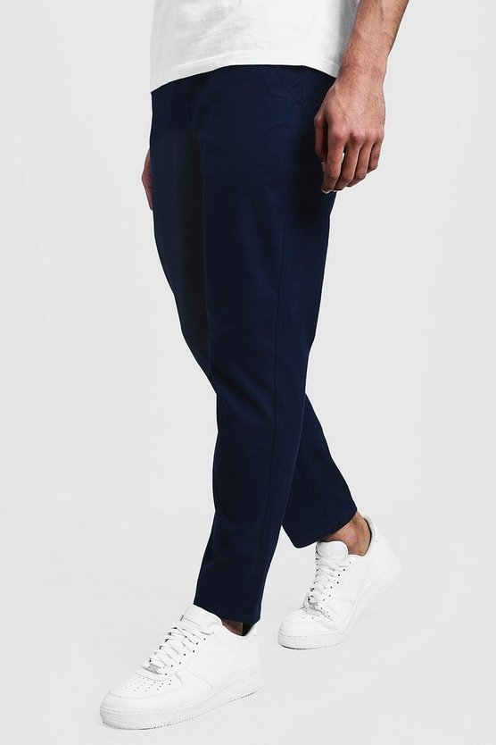 Mens Navy Slim Fit Chino Pants With Drawcord Waist