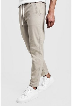 Mens Stone Slim Fit Chino Pants With Drawcord Waist