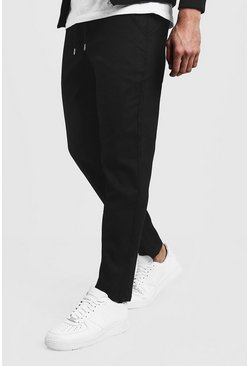 Mens Black Slim Fit Chino Pants With Drawcord Waist