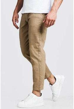 Mens Camel Slim Fit Cropped Chino Pants