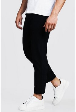Mens Black Slim Fit Cropped Chino Pants
