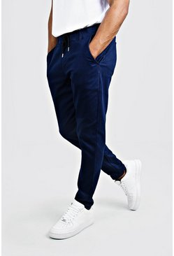 Mens Navy Skinny Fit Chino Pants With Drawcord Waist