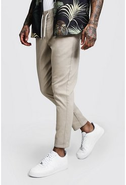Mens Stone Skinny Fit Chino Pants With Drawcord Waist