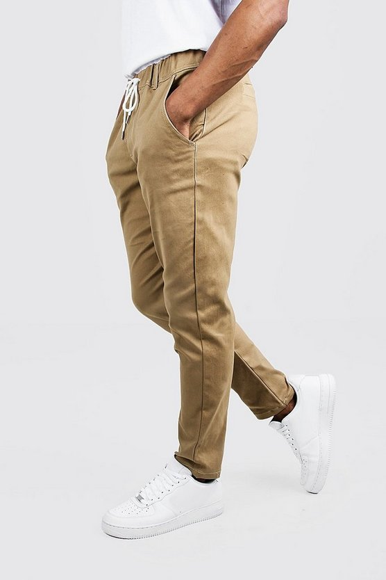 Mens Camel Skinny Fit Chino Trouser With Drawcord Waist