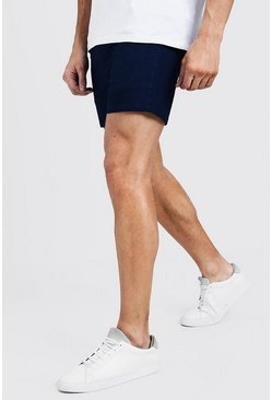 Mens Navy Short Length Skinny Stretch Chino Shorts