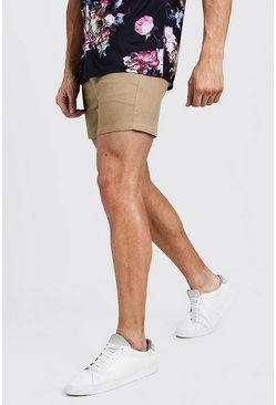 Mens Camel Short Length Skinny Stretch Chino Shorts