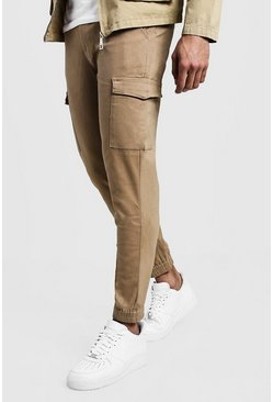 Mens Camel Skinny Fit Cargo Cuff Chino Pants