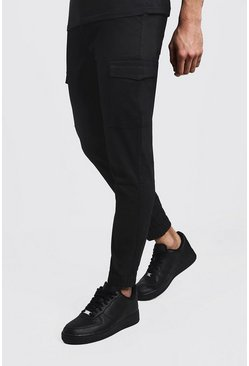 Mens Black Skinny Fit Cargo Cuff Chino Pants
