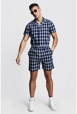 Mens Navy Check Revere Collar Short Jumpsuit