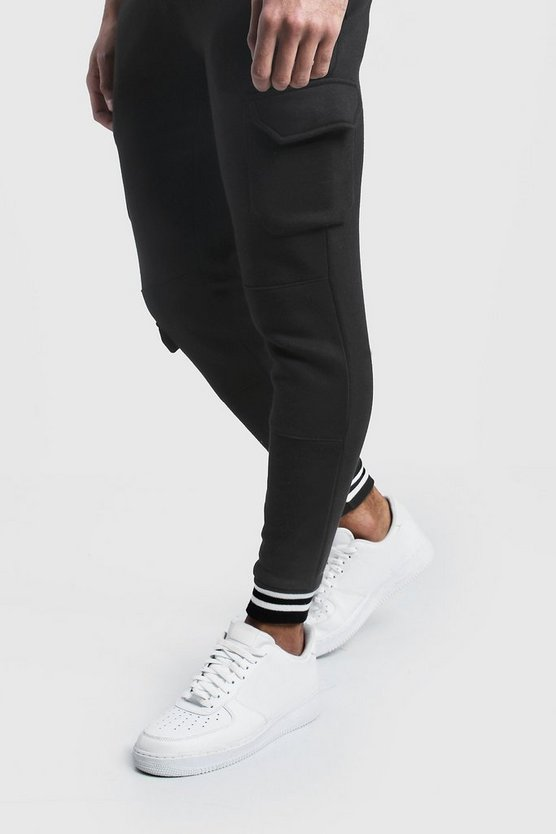 Mens Black Cargo Joggers With Sports Rib Detail