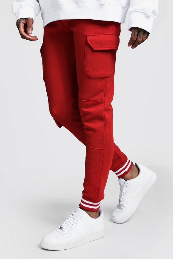 Fire red Cargo Joggers With Sports Rib Detail