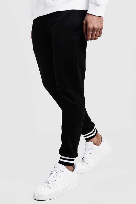 Mens Black Sports Rib Detail Skinny Fit Joggers
