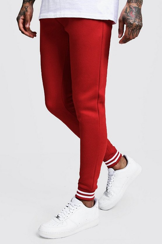 Mens Fire red Sports Rib Detail Skinny Fit Joggers