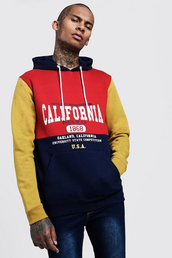 Mens Red Colour Block California Logo Hoodie