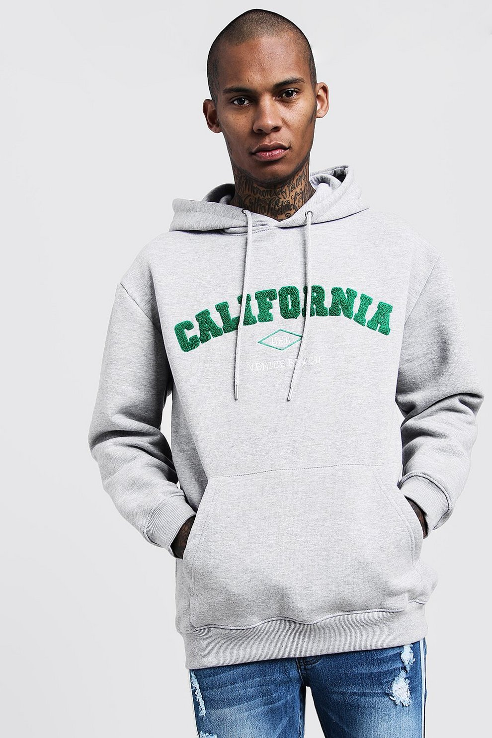 89f95ba219c1 Loose Fit California Embroidered Hoodie - boohooMAN