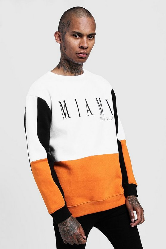 Orange Miami Print Loose Fit Colour Block Sweatshirt