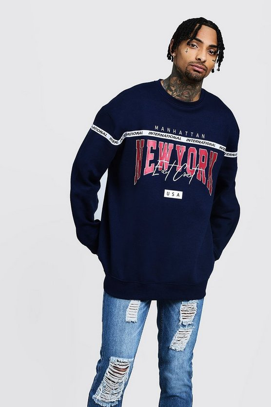 New York East Coast Oversized Embroidered Sweater
