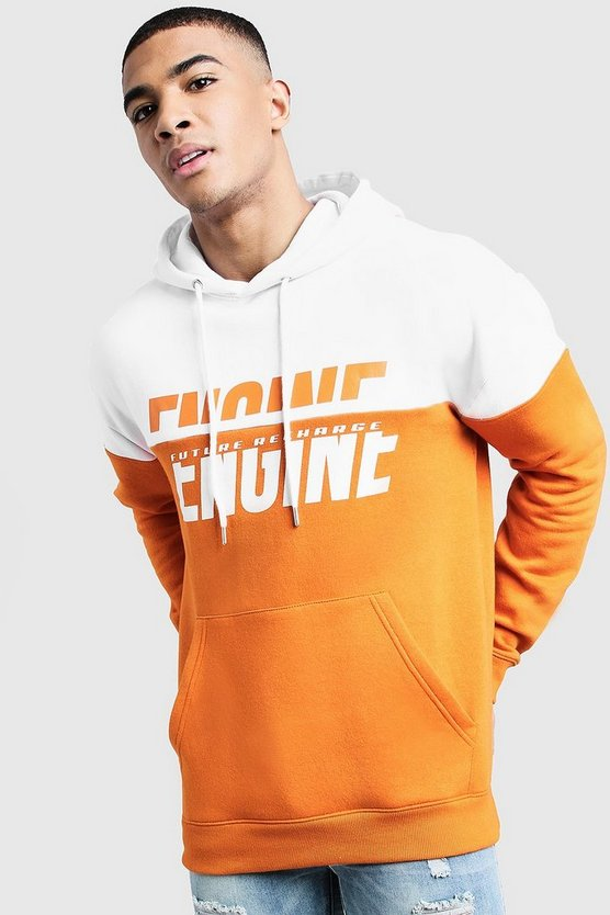 Orange Engine Spliced Print Colour Block Hoodie
