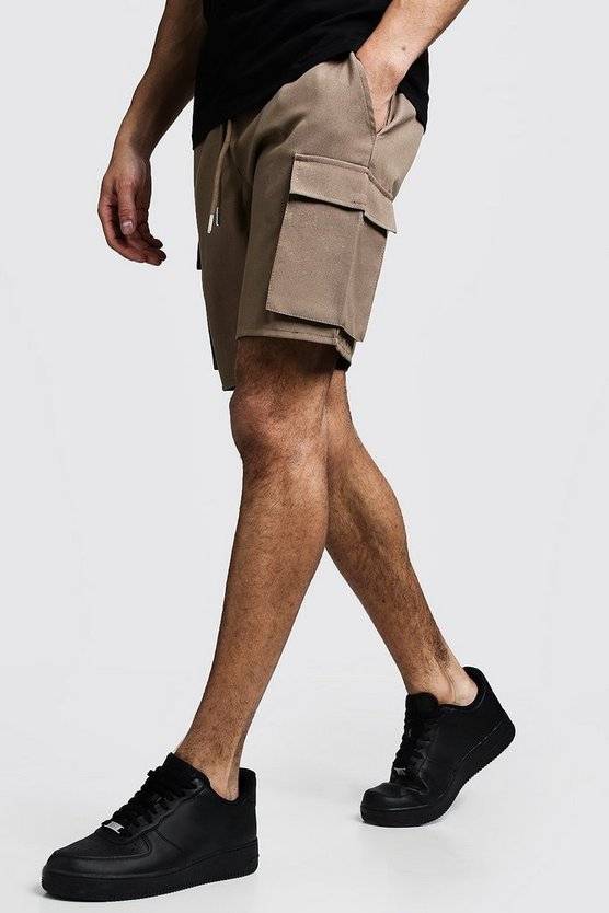 Stone Cargo Shorts With Drawstring Waistband