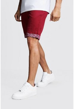 Mens Red Slim Fit Chino Shorts With Printed Turn Ups