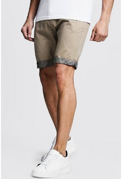 Mens Stone Slim Fit Chino Shorts With Printed Turn Ups