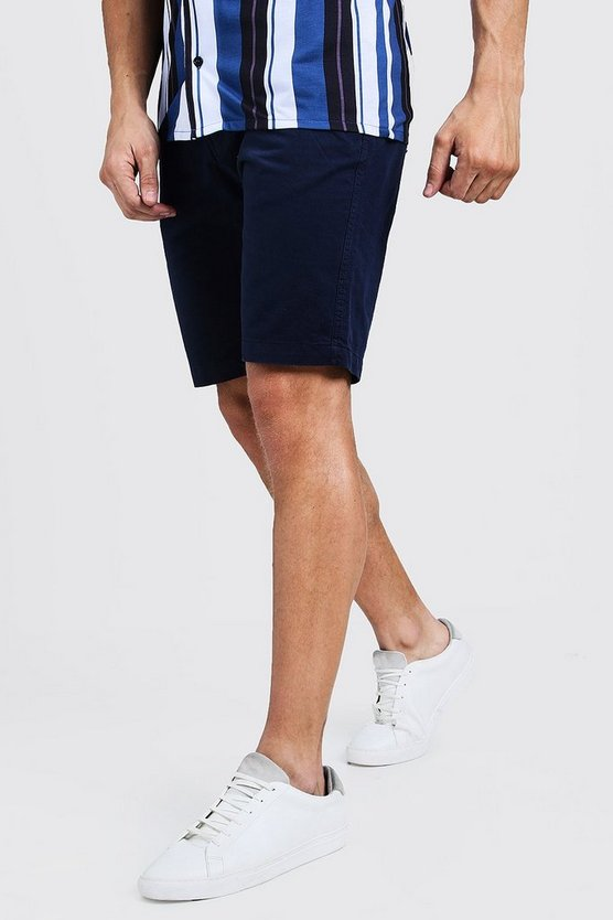 Navy Slim Fit Cotton Chino Shorts