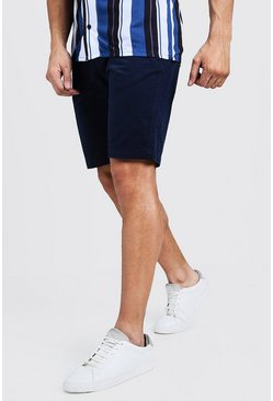 Mens Navy Slim Fit Cotton Chino Shorts
