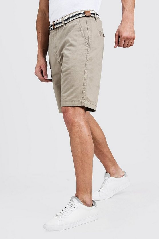 Slim Fit Cotton Chino Shorts With Belt