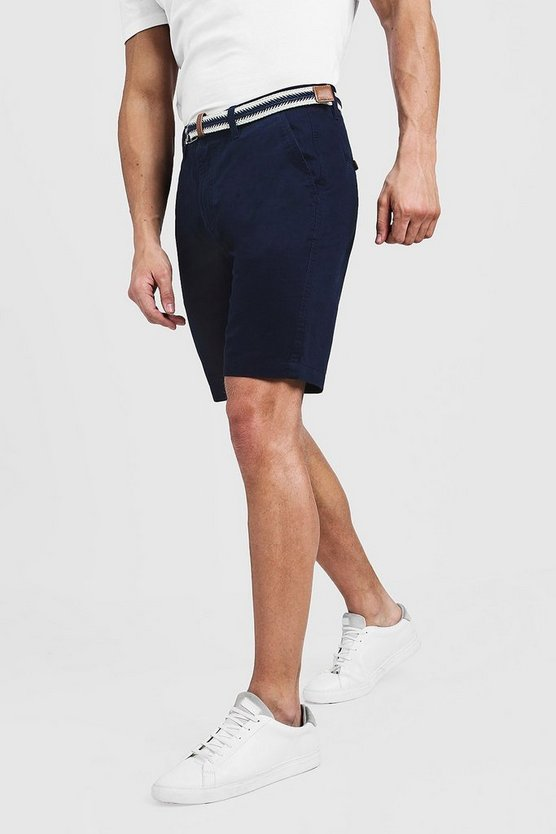 Mens Navy Slim Fit Cotton Chino Shorts With Belt
