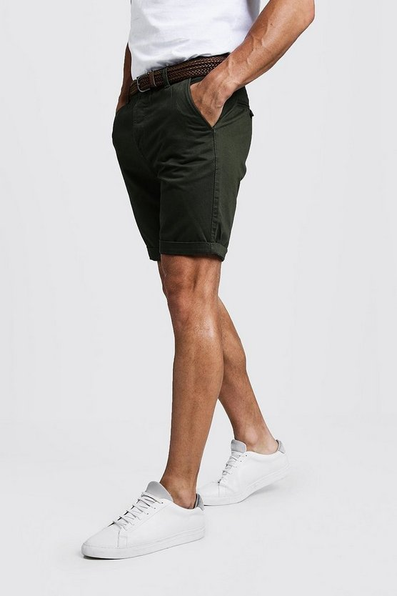 Khaki Slim Fit Cotton Chino Shorts With Belt