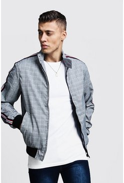 Mens Grey Check Harrington With Side Tape