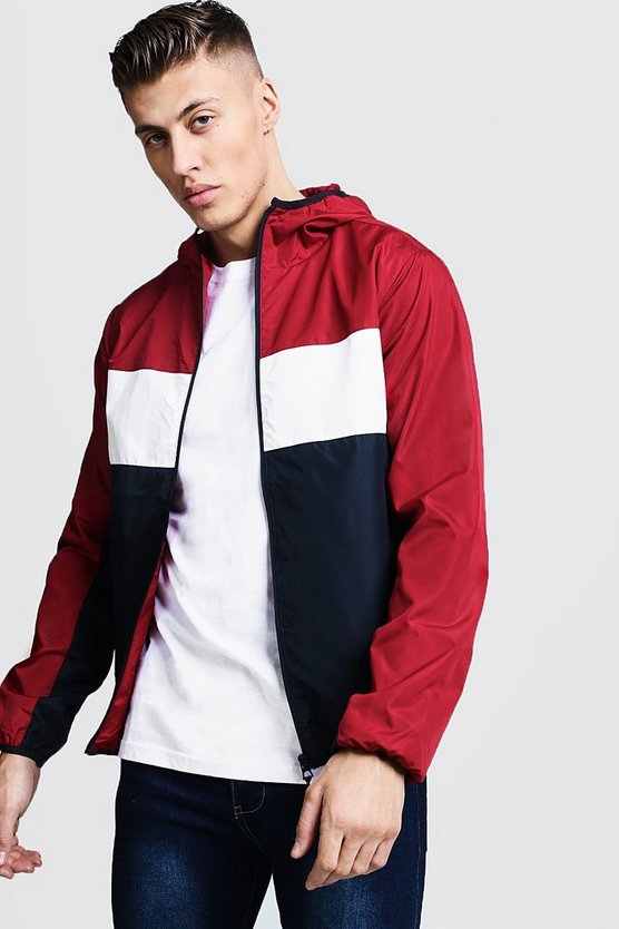 Mens Red Colour Block Zip Through Cagoule