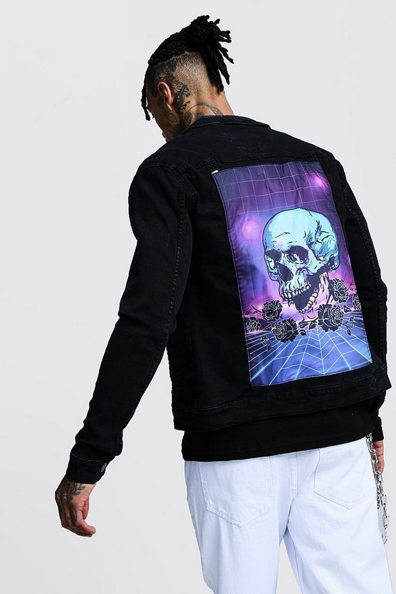 Mens Black Skull Back Print Denim Jacket