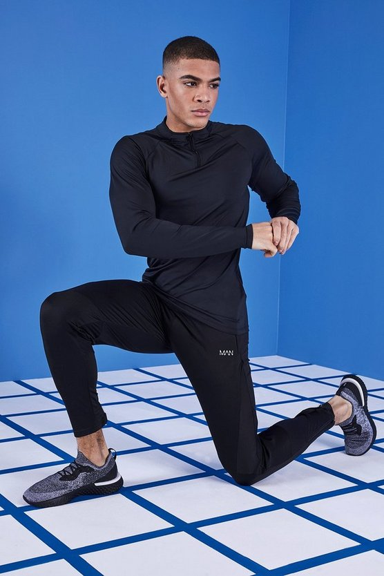 Mens Black MAN Gym Mesh Panel Jogger