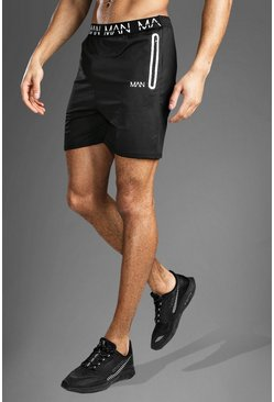Black Gym MAN Waistband Shorts