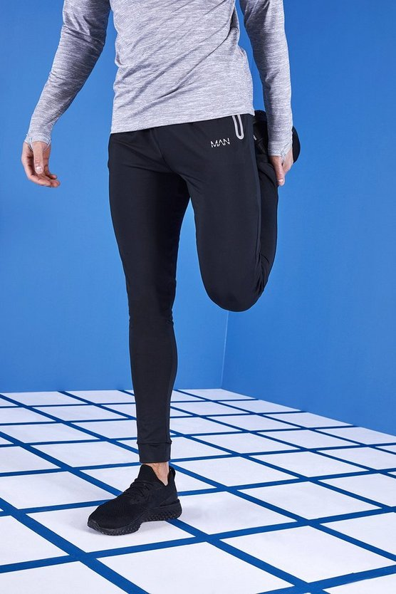 Mens Black MAN Active Skinny Fit Reflective Joggers