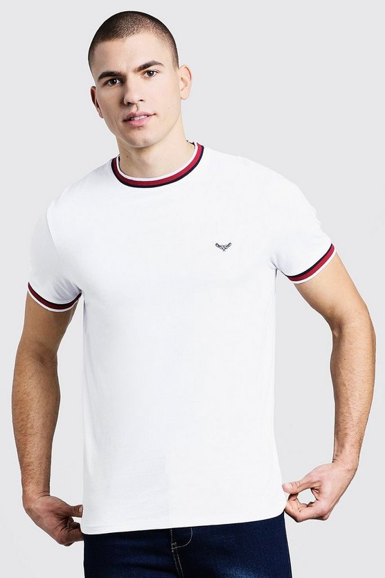 White Crew Neck T-Shirt With Sports Tipping