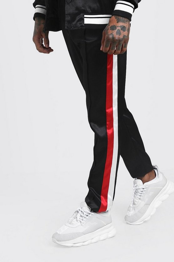 Black Skinny Fit Side Stripe Satin Jogger