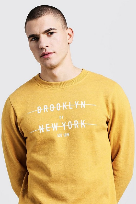 Mens Mustard City Print Crew Neck Sweater