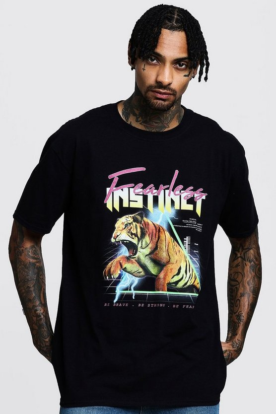 Black Fearless Instinct Oversized Print T-Shirt