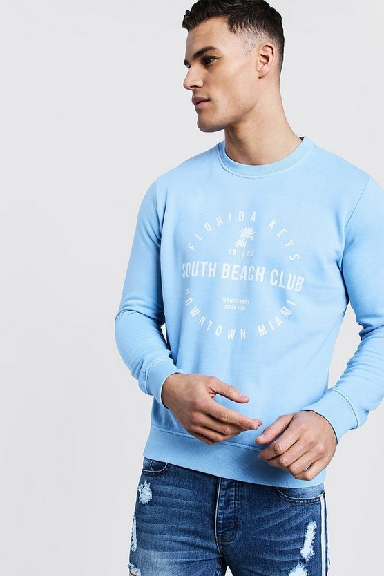 Sky City Print Crew Neck Sweater