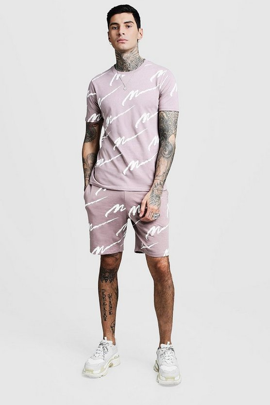 Mens Bark All Over MAN Printed T-Shirt & Short Set