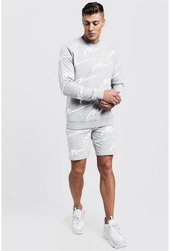 Survêtement short sweat imprimé All Over MAN, Gris, Homme